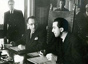 Andreotti, sottosegretario alla Presidenza del Consiglio durante una seduta del Primo governo De Gasperi, nel 1948