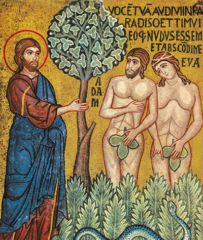 Deus chama Adão e Eva depois do pecado original. Capela Palatina, Palermo