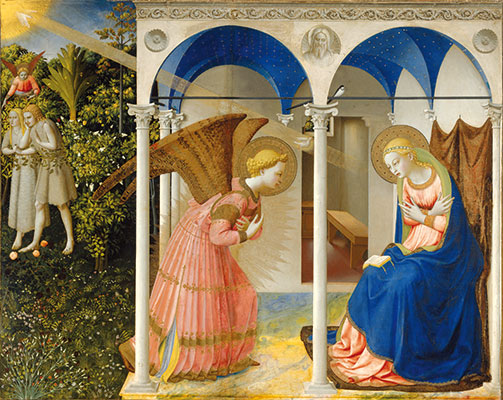 <I>Die Verkündigung</I>, mit einer Szene der Vertreibung Adams und Evas aus dem irdischen Paradies nach der Ursünde, Beato Angelico, Prado-Museum, Madrid.