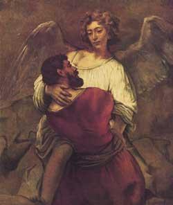 Giacobbe  che lotta con l'angelo, Rembrandt Van Rijn, 1660 circa, Staatliche Museen, Berlino-Dahlem