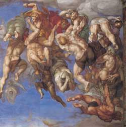 Anime dannate vengono cacciate all'inferno, particolare del Giudizio universale, Michelangelo, Cappella Sistina, Vaticano