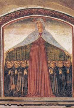 La Mater misericordiae che avvolge col suo manto i Servi di Maria (seconda metà del XV secolo), convento della Santissima Annunziata a Firenze