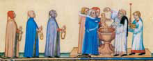 Miniature raffiguranti il battesimo di un bambino, tratte  dal manoscritto Très belles heures de Notre Dame,  XV secolo, Biblioteca nazionale di Parigi