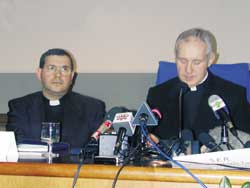 Monsignor Jean-Louis Tauran (on the right in the photo) with father Giuseppe Pusceddu, provincial of the Sons of the Immaculate Conception, during the conference held at the Center of the Dermatological Institute of the Immaculate Conception, in Rome,  February 2003; the meeting was introduced by Professor Puddu