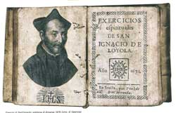 A copy of the Spiritual Exercise of Saint Ignatius of Loyola, published in Antwerp 1676, in the University of Valencia library