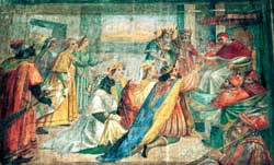 Sixtus IV (1471-1484) receives Ivan III and his wife, anonymous sixteenth-century artist, Sistina ward, Sala Baglivi, hospital of Santo Spirito in Sassia,  Rome