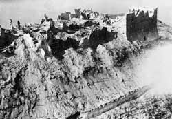 The abbey of Montecassino after the heavy allied bombing 