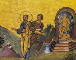 San Barlaam, vittima della persecuzione di Diocleziano, viene trascinato davanti all'ara, dove il santo resiste al tentativo del carnefice di farlo sacrificare agli dei. Miniatura del Menologio di Basilio II, Cod. Vat. Gr.1613, f. 187, Biblioteca apostolica vaticana