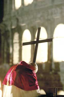 John Paul II during the Stations of the Cross in the Colosseum on 23 March 2002