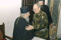 General Fabio Mini, commander of the KFOR during the meeting with Orthodox Bishop Artemije