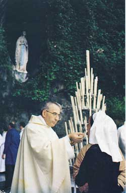 Above, Albino Luciani, the Patriarch of Venice, in Lourdes