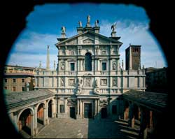 The facade of the shrine of Santa Maria presso San Celso and the altar of Our Lady, that still has a fragment of the 4th century 