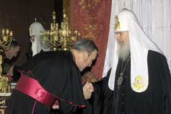 Monsignor Antonio Mennini, representative of the Holy See to the Russian Federation, greeting Patriarch Aleksij II, 20 February 2003