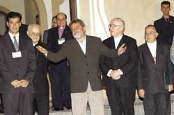 "The Brazilian President Luiz Inácio ""Lula"" da Silva during his visit to the Assembly of Brazilian bishops held in Itaici on May1 2003"