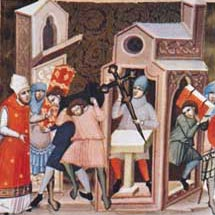 A bishop directs the sacking of a church,  a miniature taken from the Decretum Gratiani