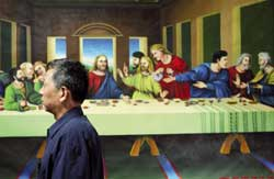 A painting portraying the Last Supper of Jesus in the church of Xi Zhi men, known as Xitang in Peking.