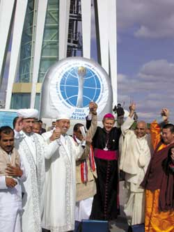 the Catholic Archbishop of Astana Tomasz Peta along with Islamic, Hindu and Buddhist representatives