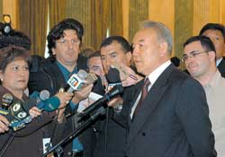 The Kazak President during a press conference