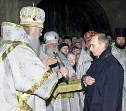 Vladimir Putin during the Christmas celebration of 2002