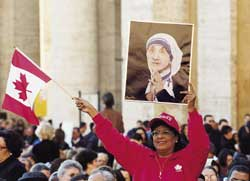 A Canadian believer in Saint Peter's Square during the ceremony of beatification of Mother Teresa 19 October 2003