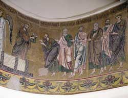 The communion of the apostles, a mosaic in the church of Saint Sofia in Kiev, Ukraine
