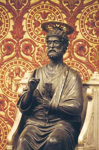 The  bronze  statue of Saint Peter kept in the Vatican Basilica