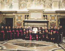 "At the end of the extraordinary ""electoral"" Synod, on 3 December 2003 John Paul II received in audience the 23 bishops of the Chaldean Church"