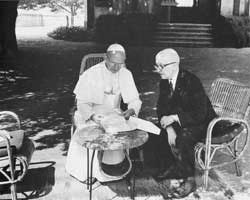 Paul VI in discussion with his friend, the philosopher Jean Guitton at Castel Gandolfo