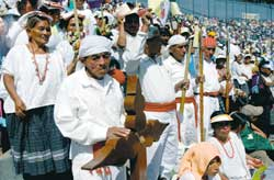 Maya Indian faithful assist at the holy mass at the end of the American Missionary Congress in Guatemala on 30 November 2003
