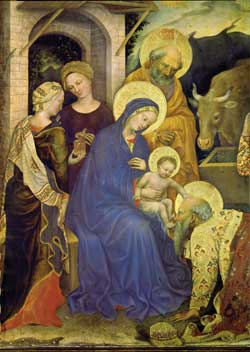 The adoration of the Magi, detail, Gentile da Fabriano, Uffizi Gallery, Florence