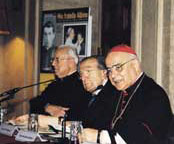 A moment during the presentation of the book on  Pope Luciani, published by30Days, which was held at the Almo Capranica College  of Rome on11 Dicember 2003. Speakers, from left to right: Father Roberto Busa, Senator Giulio Andreotti and Cardinal José Saraiva Martins