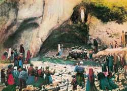Una raffigurazione dell'apparizione della Madonna a Bernadette