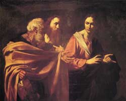 <I>The vocation of Peter and Andrew</I> (1601), oil on canvas, Royal Gallery Collection, Hampton Court Palace, London.  The photo is published in the book by Maurizio Marini, Caravaggio, Rome, 2001. The famous art historian Sir Denis Mahon, following  a recent work of cleaning, attributed this canvas to Caravaggio.