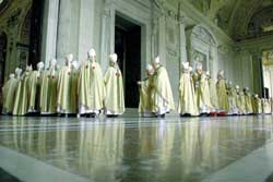 A procession of cardinals entering Saint Peter's basilica
