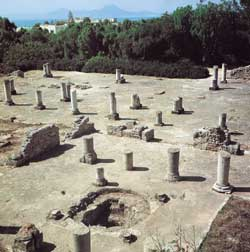 Restos arqueológicos de uma basílica cristã em Cartago