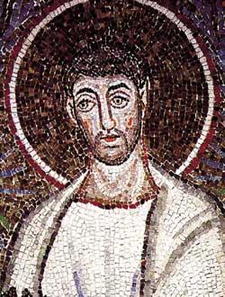 São Cipriano, detalhe de um mosaico do século VI que representa a procissão dos mártires, na Basílica de Santo Apolinário Novo, Ravena
