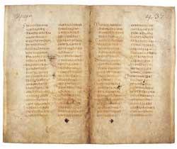 """Evangeliário latino, Codex Eusebi, s.n., pp. 440-437, Biblioteca Capitular, Verceli (Itália). Este manuscrito é o testemunho mais antigo dos quatro Evangelhos em texto dito """"europeu"""", anterior à Vulgata de Jerônimo"""