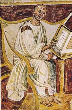 A mais antiga imagem de Santo Agostinho, num afresco do século VI, em São João de Latrão, Roma