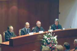 the panel of speakers: from left, senator Giulio Andreotti, the editor of the book Giovanni Cubeddu, Cardinal Jean-Louis Tauran and the American ambassador to the Holy See Jim Nicholson