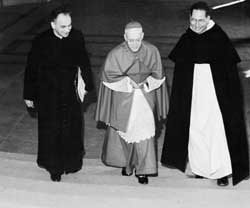 From left, monsignor Pierre Mamie, future bishop of Lausanne, Geneva and Freiburg, Cardinal Charles Journet  and George Cottier in Rome during the works of Vatican Council II