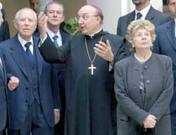 President of the Italian Republic Carlo Azeglio Ciampi and his wife Franca on a visit to the abbey of Montecassino accompanied by the abbot Don Bernardo D'Onorio, 15 March 2004
