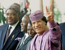 REHABILITATED. The Libyan leader Ghadaffi at a meeting of the African Union