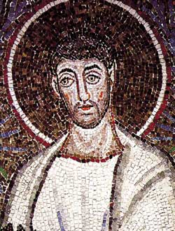 Saint Cyprian, detail of the 6th century mosaic showing the procession of the martyrs, Basilica of Sant'Apollinare Nuovo, Ravenna