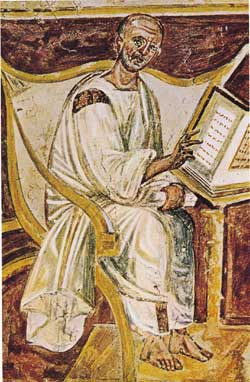 The earliest portrait of Saint Augustine in a 6th century fresco, Lateran, Rome