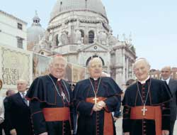 Cardinals Angelo Scola, Angelo Sodano and Marco Cé in front of the Basilica of Santa Maria della Salute in Venice