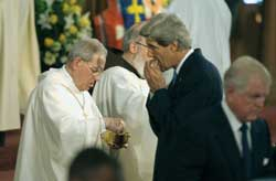 John F. Kerry receiving Holy Communion