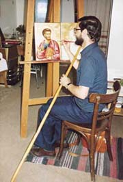 Don Angelo Amato painting an icon in the monastery of Moní Vlatádon in Salonika