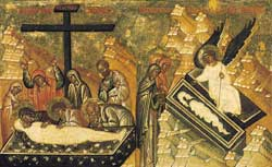 Burial and resurrection of Jesus, detail from a double-sided icon panel with scenes of the passion of Christ, late 15th - early 16th century, Tret'jakov Gallery, Moscow
