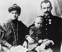 Karol Wojtyla at the age of two in a photo from 1922 with his parents Karol and Emilia