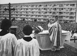 Karol Wojtyla celebrating mass in the open at Nowa Huta, after consecrating a new church